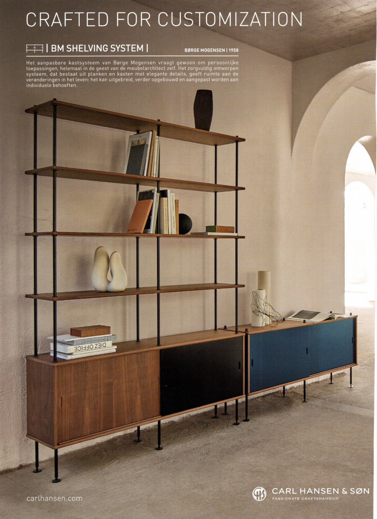 Borge Mogensen Shelving System, design 1958 (advertentie)  Victors Design Agency