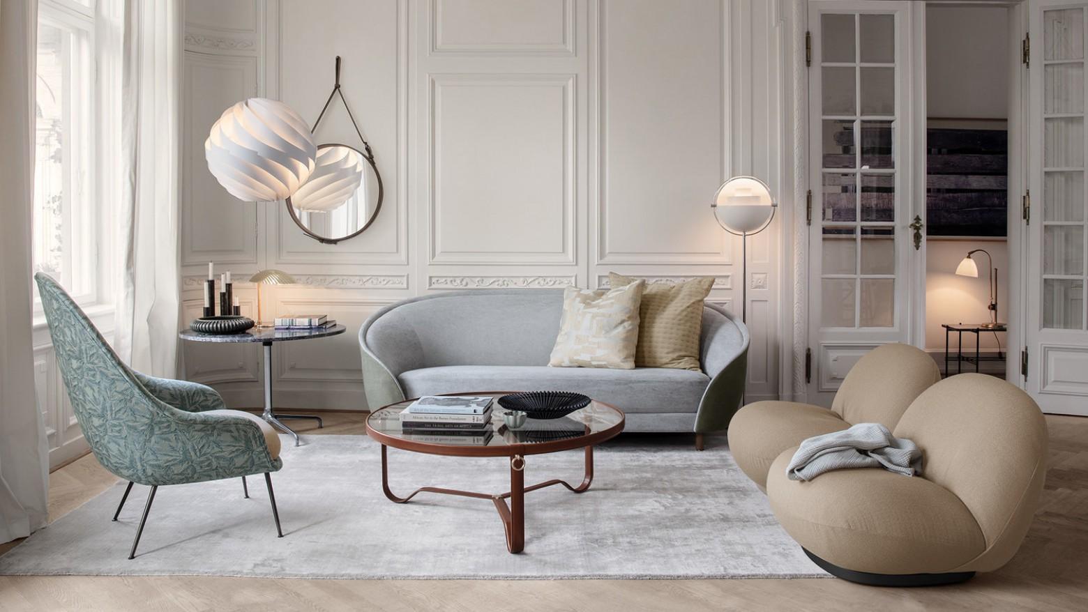 GUBI prijslijst 2019 verwacht per 1 Maart 2019. Foto: Pacha chair - Bat Lounge - Adnet Coffee Table  Victors Design Agency