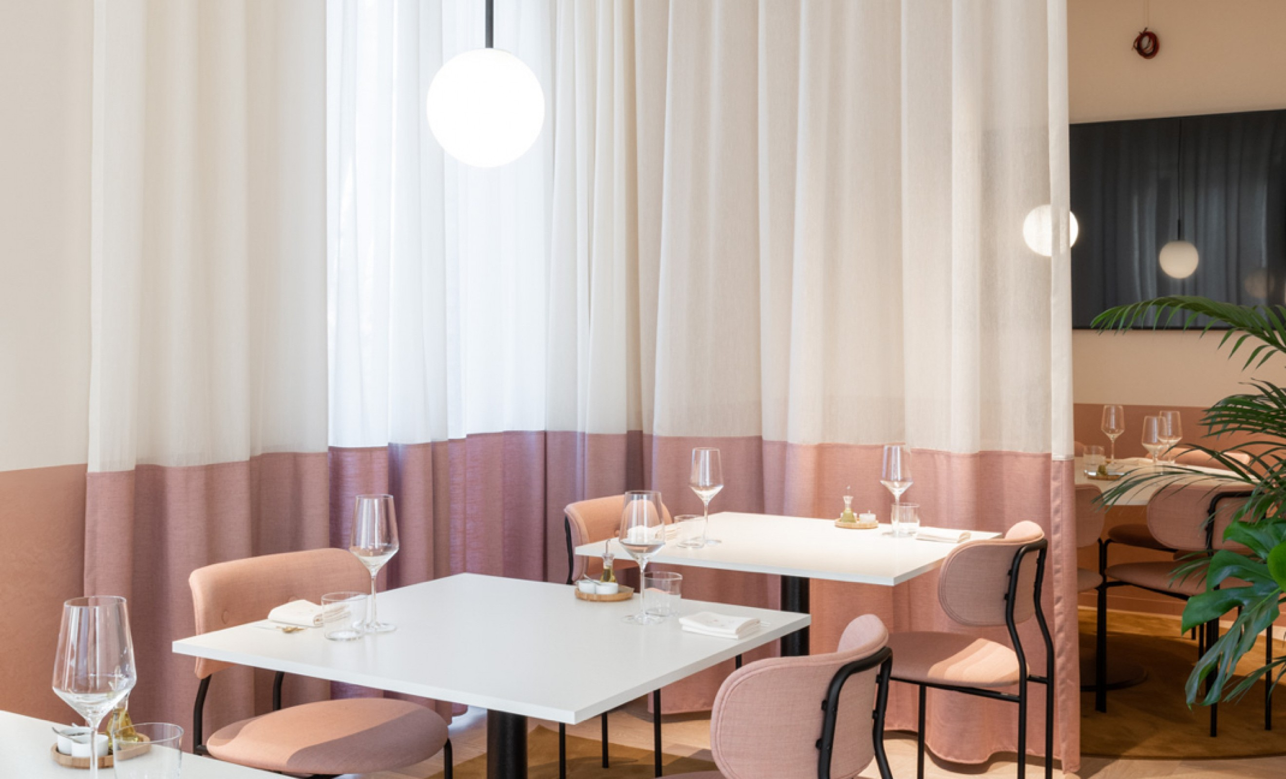 Soft Pink velvet on the Coco dining chair in CRKL Roeselare, Belgium  Victors Design Agency