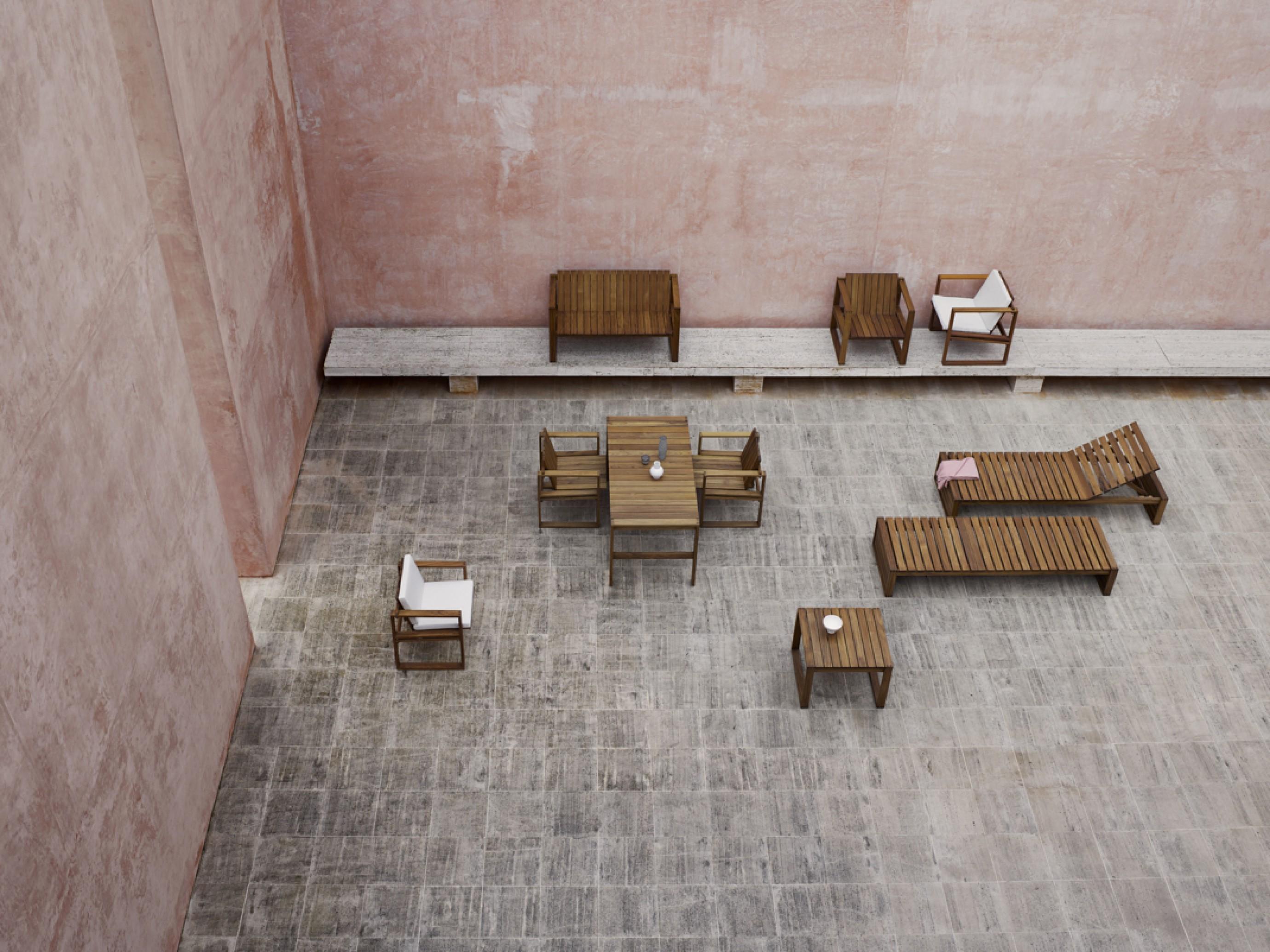 Architecturale outdoor meubelen in duurzame teak, design 1959  Victors Design Agency