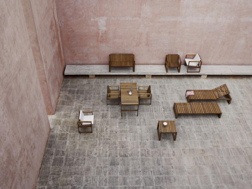 Architecturale outdoor meubelen in duurzame teak, design 1959