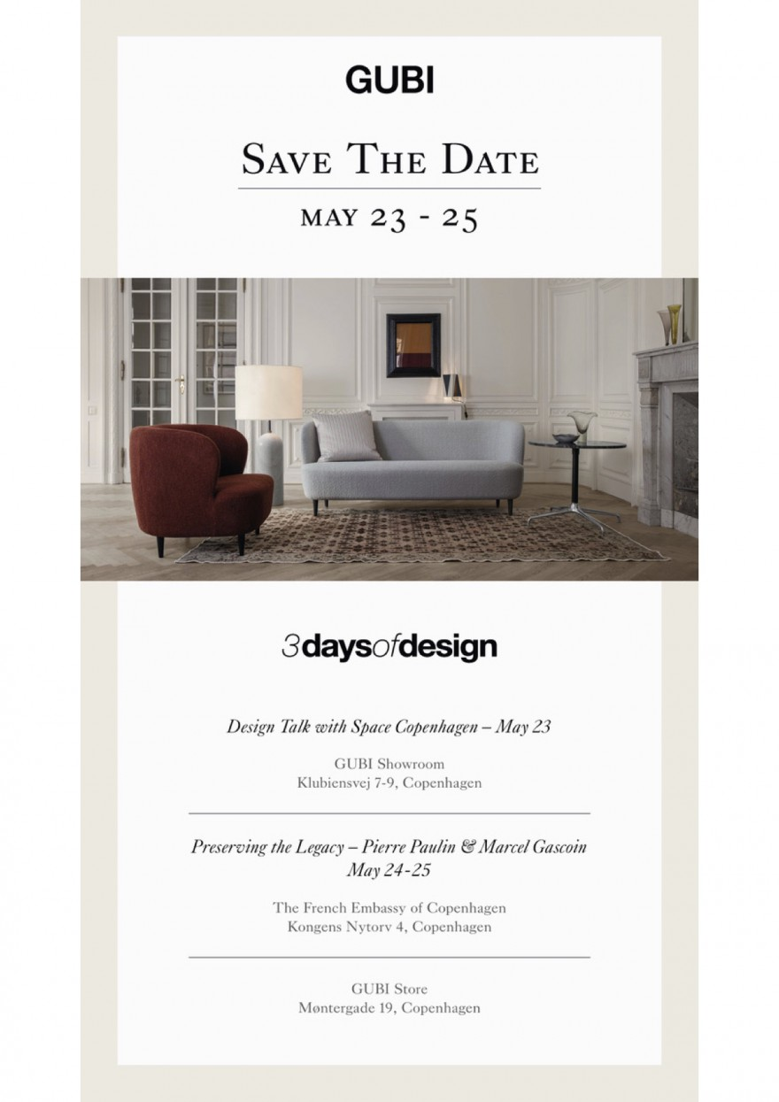 Uitnodiging Gubi: 3 Days of Design 23-25 Mei 2019