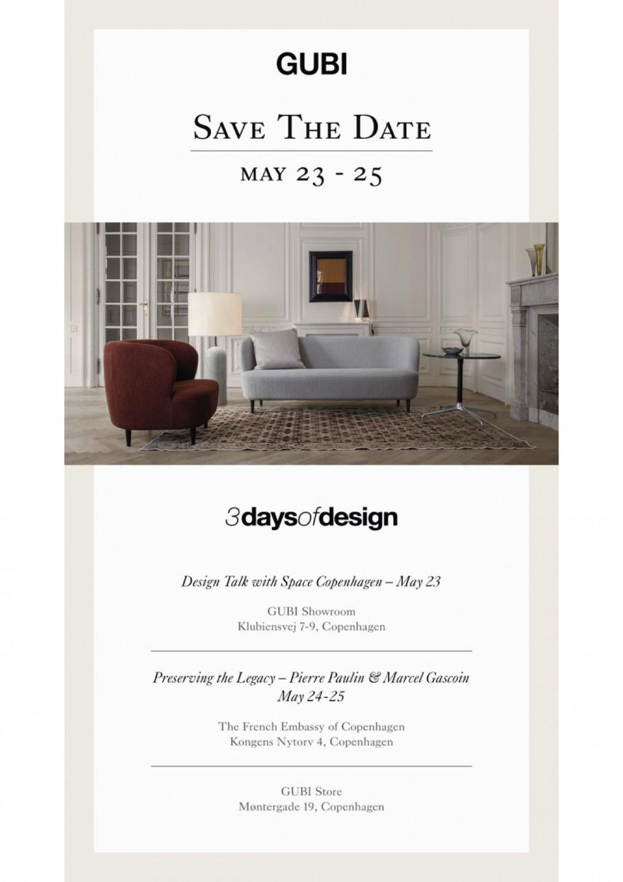 Uitnodiging Gubi: 3 Days of Design 23-25 Mei 2019