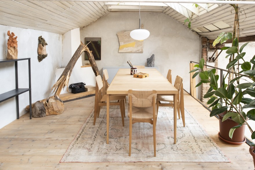 Table S de Marcel Gascoin avec chaise C accompagnante en cordon de papier