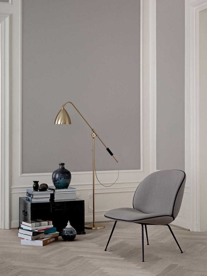Bestlite vloerlamp in brass en Beetle lounge