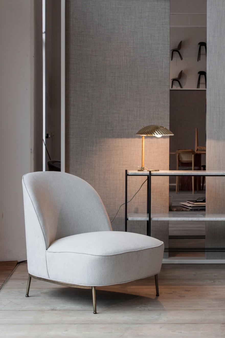 Séjour Lounge sans accoudoirs - Base en laiton antique