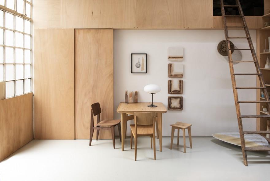Table S de Marcel Gascoin avec chaises C: design historique