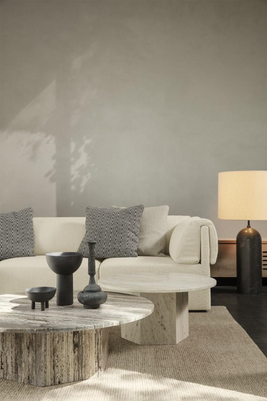 Tables basses Epic en travertin, couleur naturelle et couleur grise