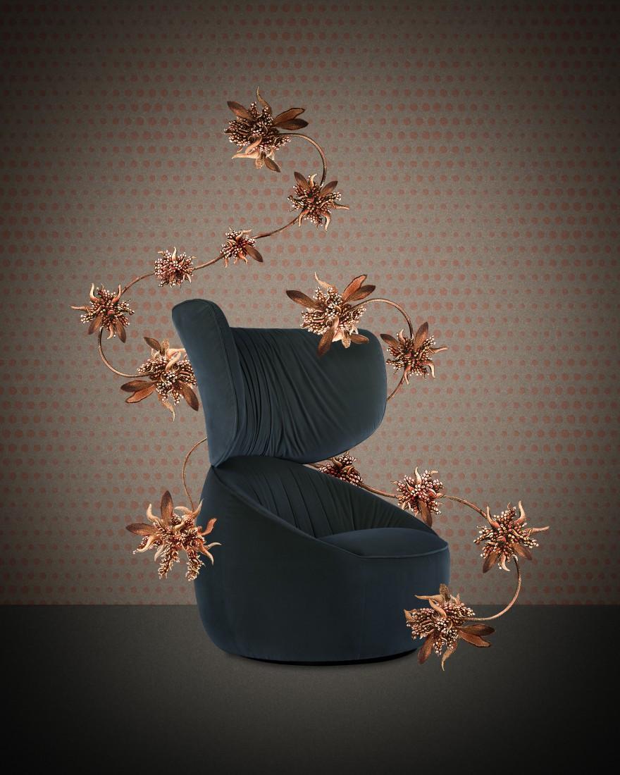 HANA armchair Wingback in Liscio Blue