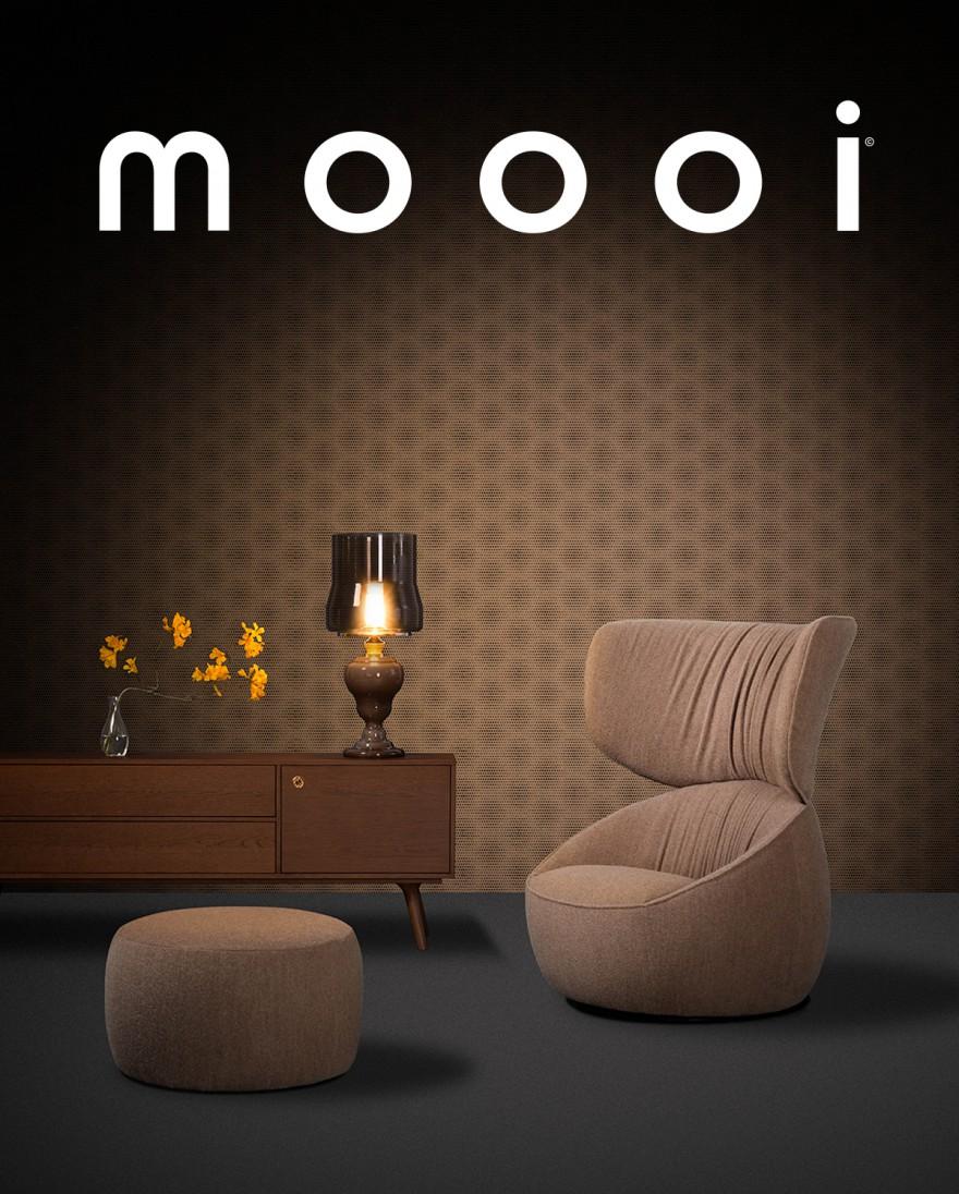 HANA armchair Wingback met poef: ronde, elegante vormen