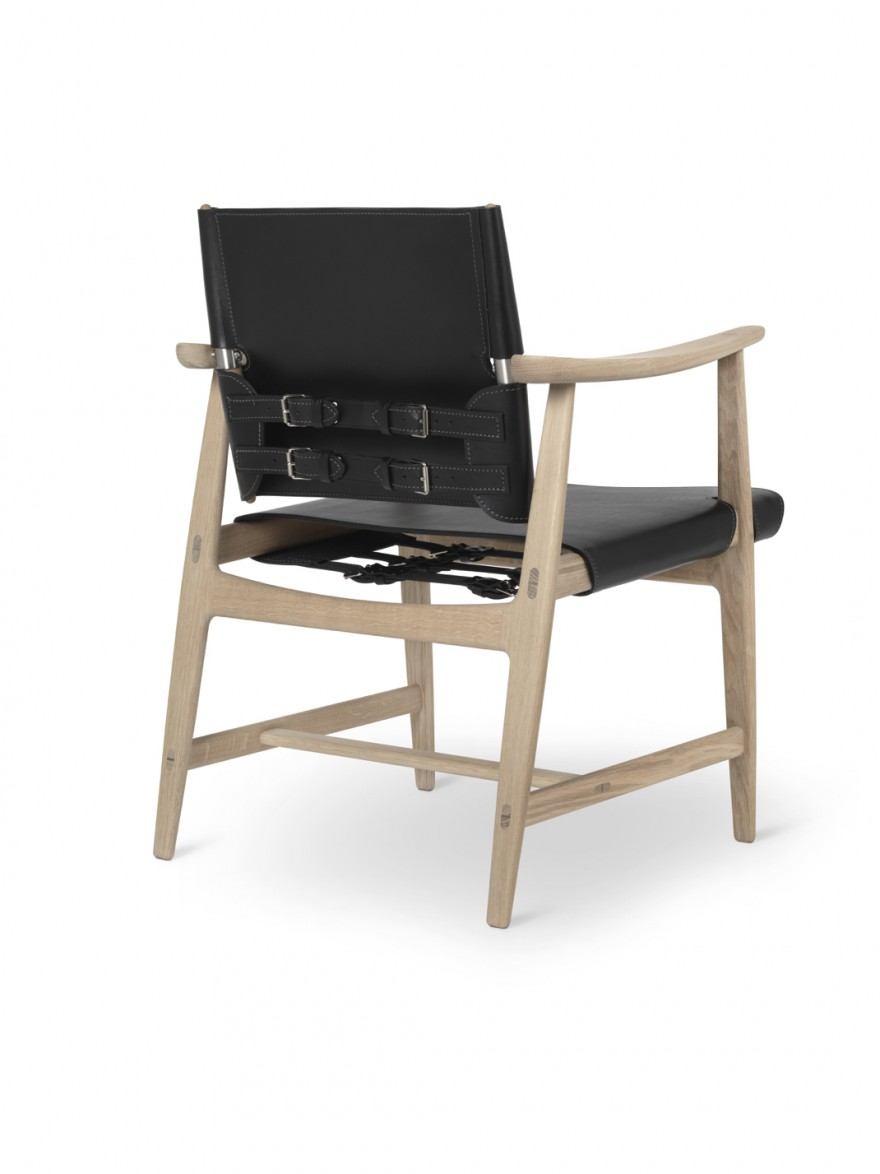 Huntsman chair back - oak white oil - black saddleleather