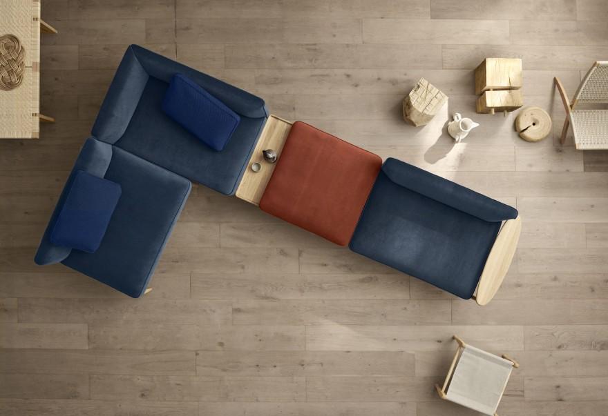 Een compositie voorbeeld van de EMBRACE modulaire sofa