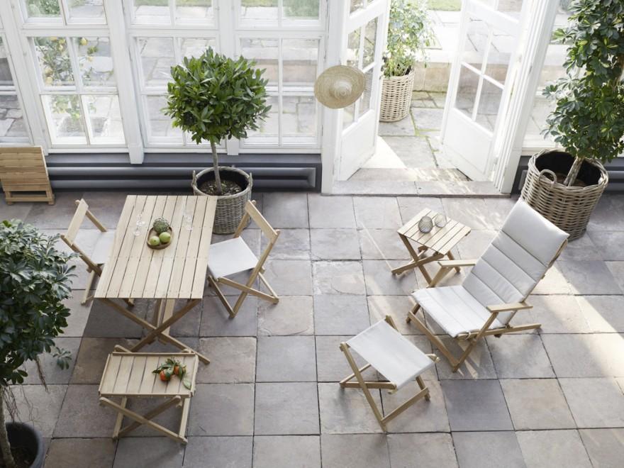 Volledig plooibare outdoor collectie in FSC gelabelde teak. Design Borge Mogensen