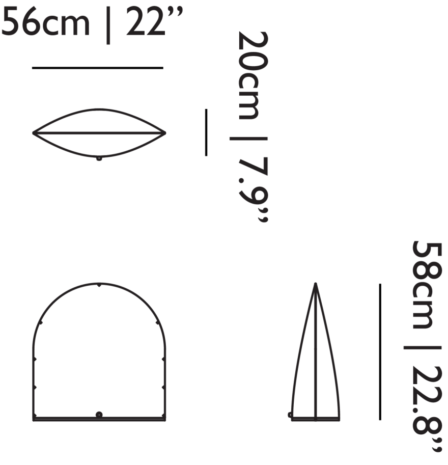 Lampe de table Space: les dimensions