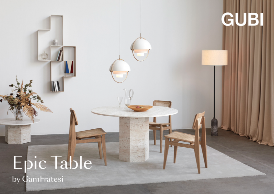 EPIC table GUBI diam 130 cm in witte travertin