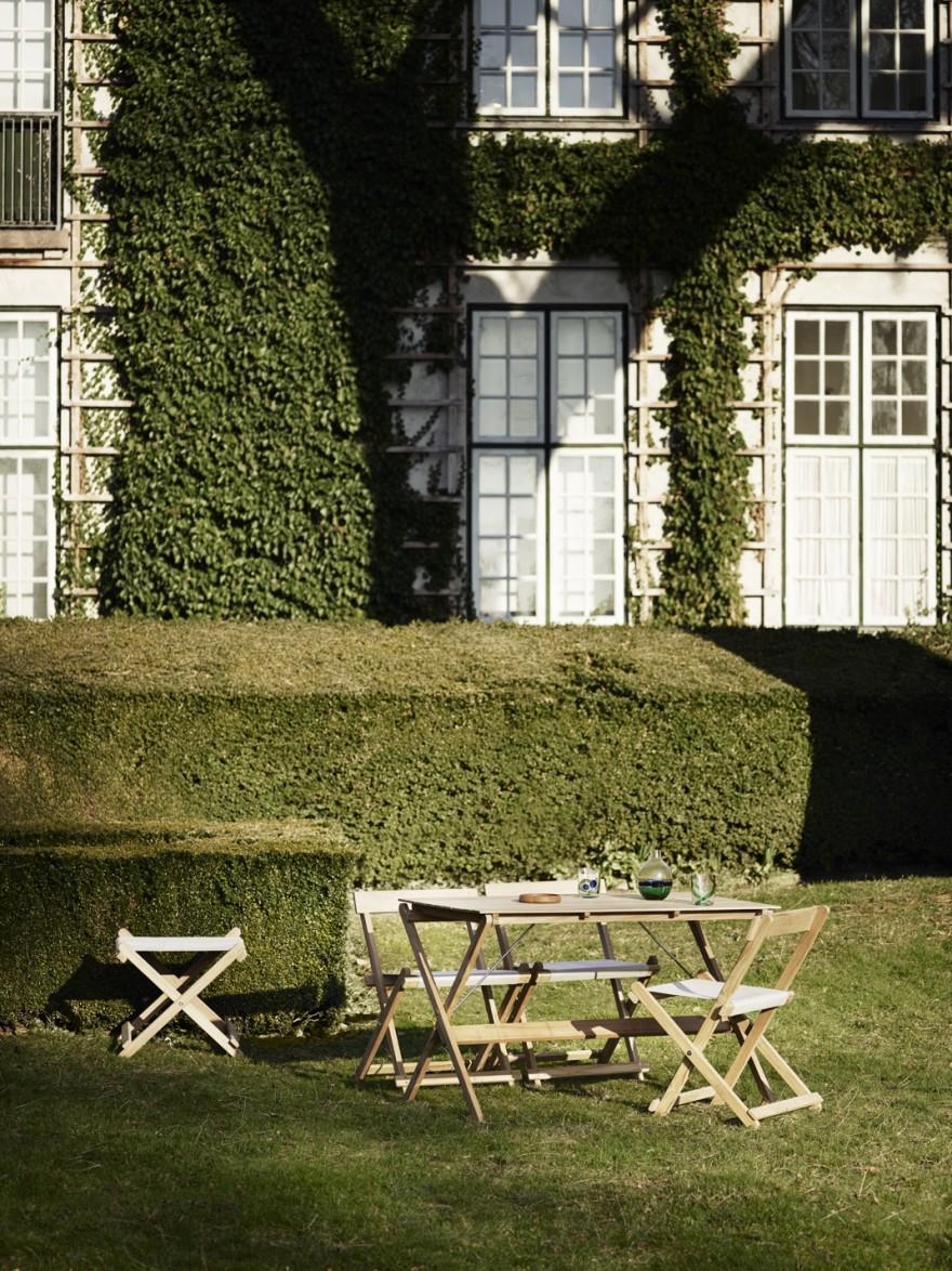 Slank ogende teak tuin meubelen, ontworpen begin jaren 70, Borge Mogensen