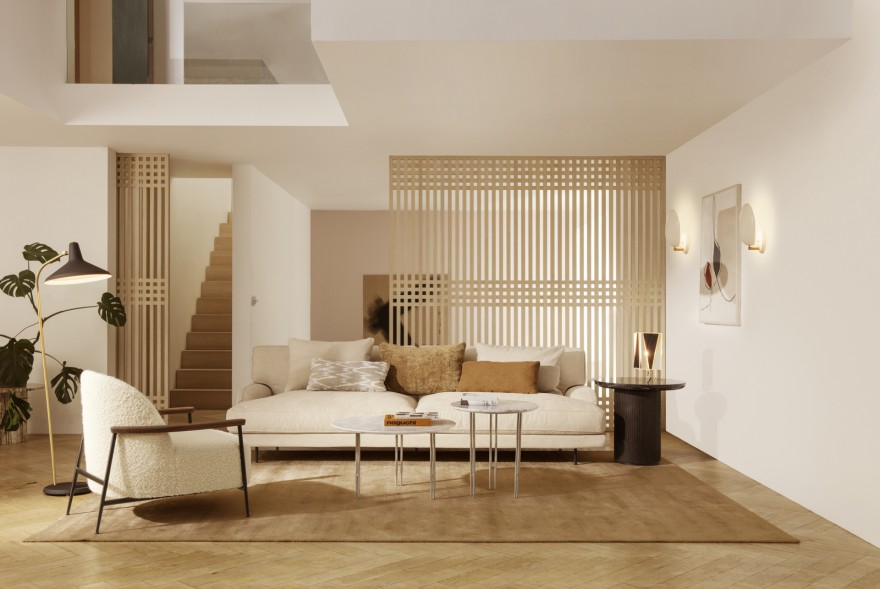 Sejour lounge, Flaneur sofa, IOI coffee table, enz. GamFratesi design 2020: leverbaar