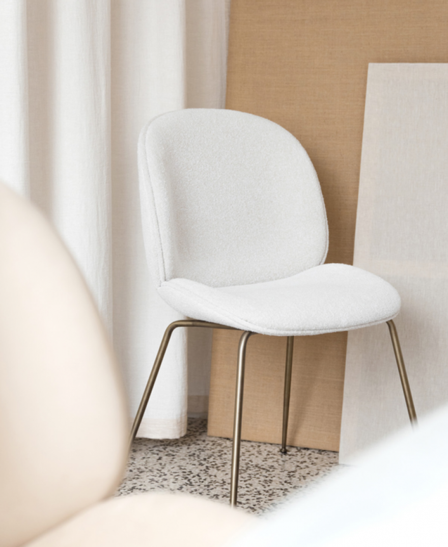 Beetle Dining Chair in Light Bouclé
